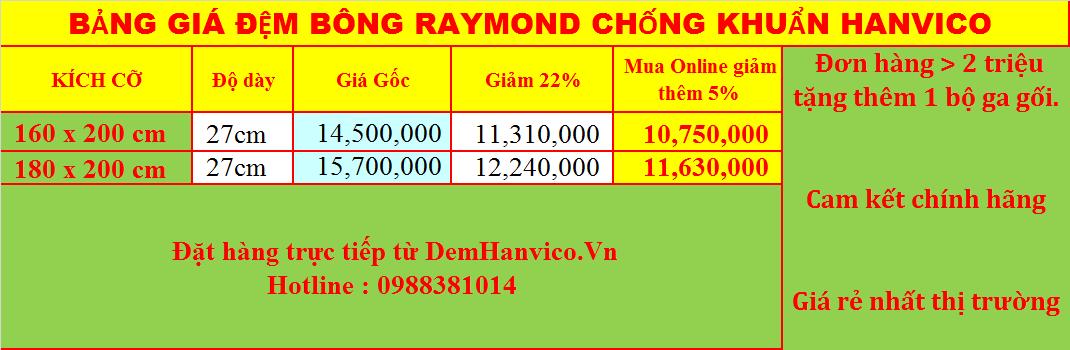 Đệm bông ép chống khuẩn Raymond Hanvico dày 27cm